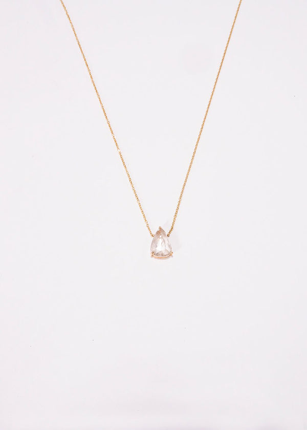 Pear Shape Rose Cut Diamond w/18 K Gold Chain 9230-Necklaces-Gretchen Ventura