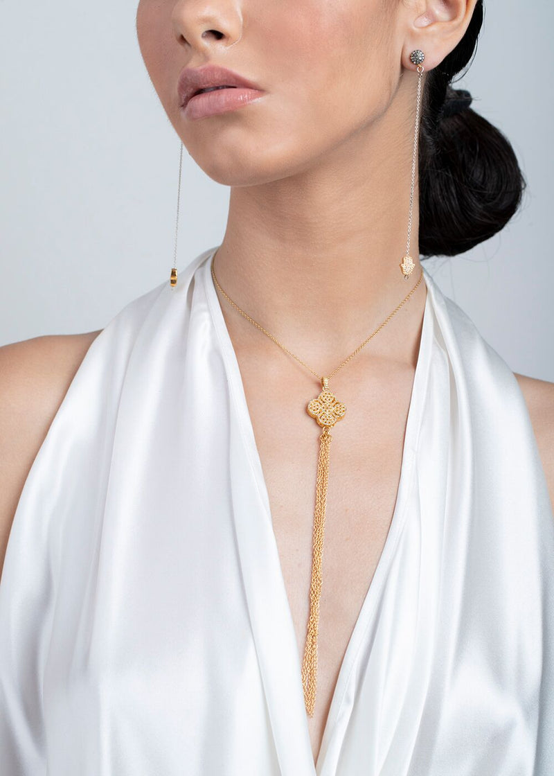 Gold Plate over Sterling & Diamond Clover W/ Gold Plate over Sterling Chain #6067-Necklaces-Gretchen Ventura
