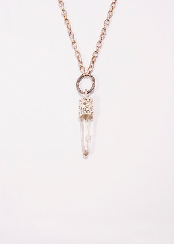 Crystal Pendant Capped w/Sterling Silver & Diamond Slice & Textured Chain #9242-Necklaces-Gretchen Ventura