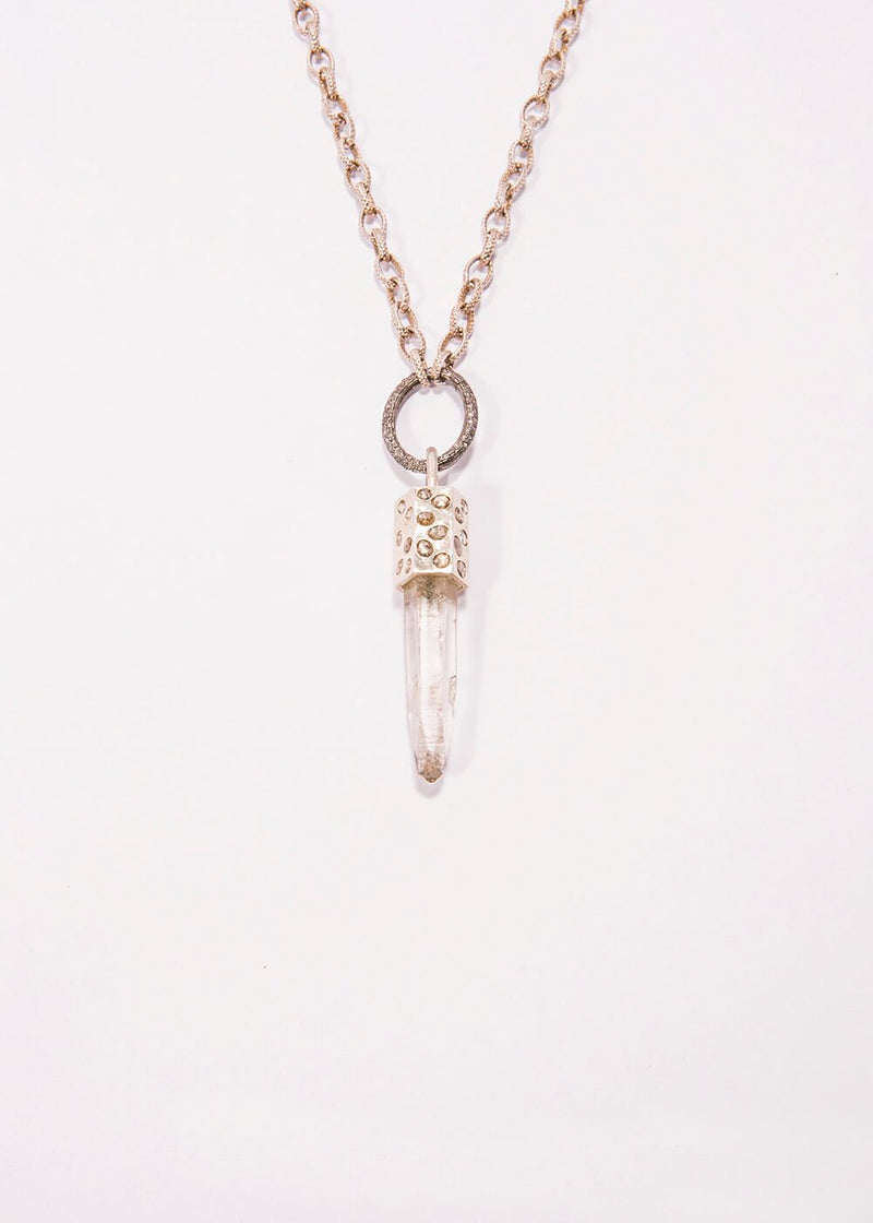 Crystal Pendant Capped w/Sterling Silver & Diamond Slice & Textured Chain 9242-Necklaces-Gretchen Ventura