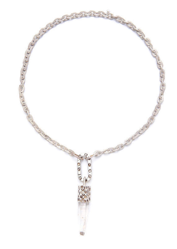 Crystal Pendant Capped w/Sterling Silver & Conflict Free Diamond Slice & Link Chain #9243-Necklaces-Gretchen Ventura