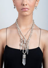 Crystal Pendant Capped w/Sterling Silver & Conflict Free Diamond Slice & Link Chain 9243-Necklaces-Gretchen Ventura