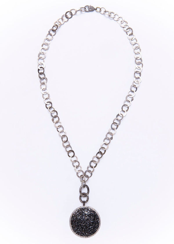 Black Diamond & Pave Pendant w/ Moroccan Vintage Sterling Link Chain & Diamond Oval Clasps #9248-Necklaces-Gretchen Ventura