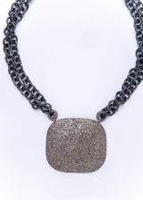 "Pave Diamond Plate & Rings w/ Rhodium Plated Sterling Double Chain & Diamond Lobster Clasp (15"")-Necklace-Gretchen Ventura"