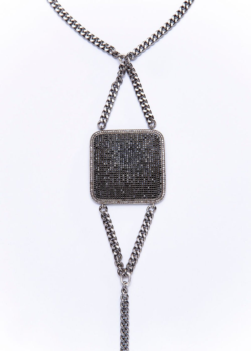 Black Spinel & Diamond Pave Plate w/ Oxidized Sterling Curb Chain & Tourmaline Drop 9250-Necklaces-Gretchen Ventura