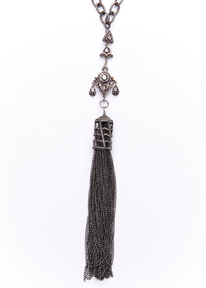 Rose Cut & Pave Diamond Cage & Sterling Chain Tassel w/ Rhodium plated Sterling Chain 9251-Necklaces-Gretchen Ventura
