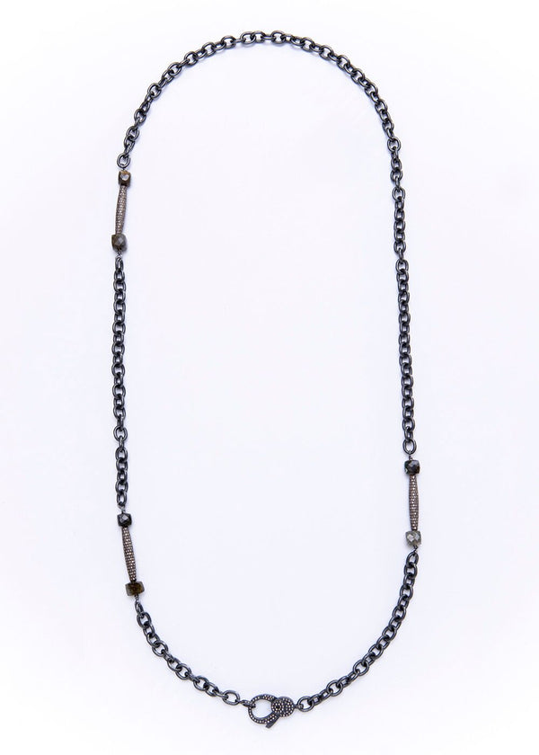 Diamond Bar, Labradorite w/ Rhodium Plated Sterling Chain 9254-Necklaces-Gretchen Ventura