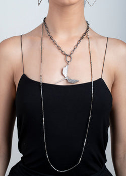Faceted Icy Diamonds, Pyrite & Labradorite Beads Necklace 9258-Necklaces-Gretchen Ventura