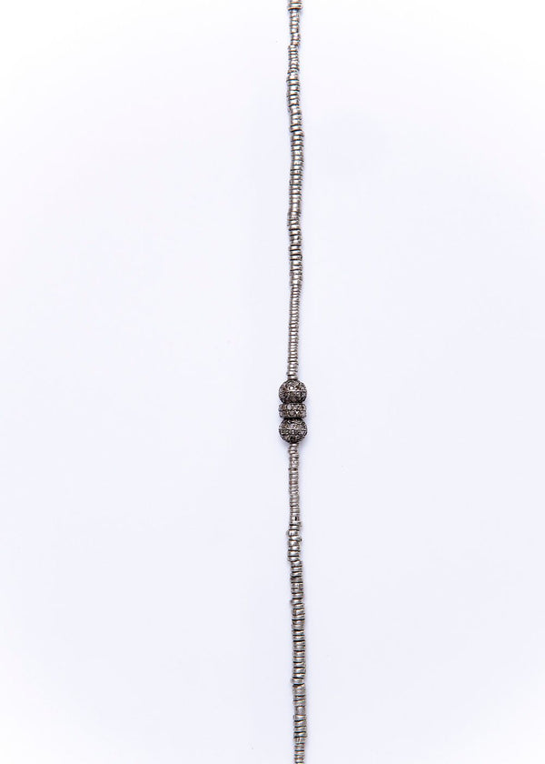 Antique Afghani Sterling Rings w/ Pave Diamond Beads Necklace 9259-Necklaces-Gretchen Ventura