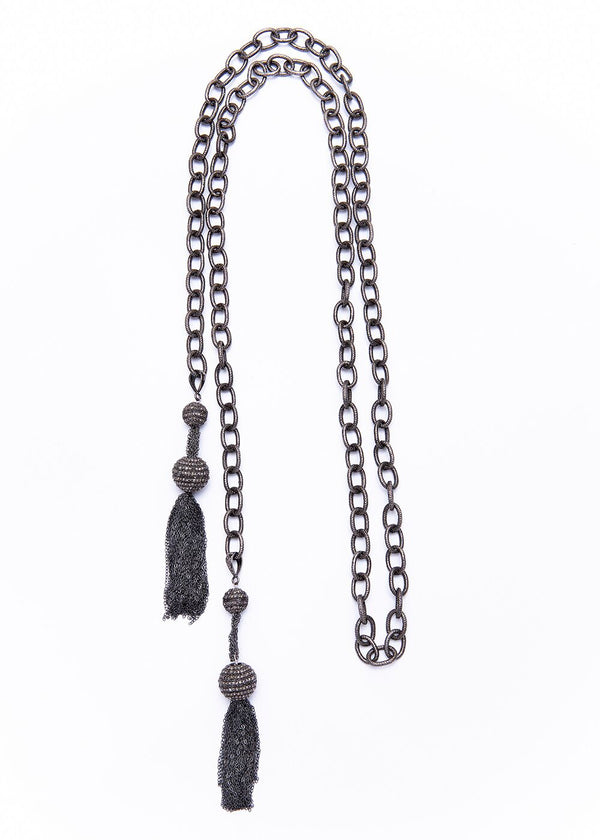 Oxidized Sterling Link Chain w/ Sterling & Diamond Ball Tassel 9264-Necklaces-Gretchen Ventura
