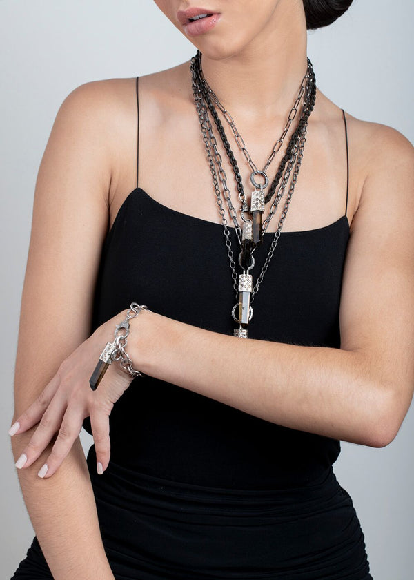 Smoky Quartz Capped w/ SS & Conflict Free Raw Diamond, Caribeaner & acid wash medium GV Chain #9266-Necklaces-Gretchen Ventura