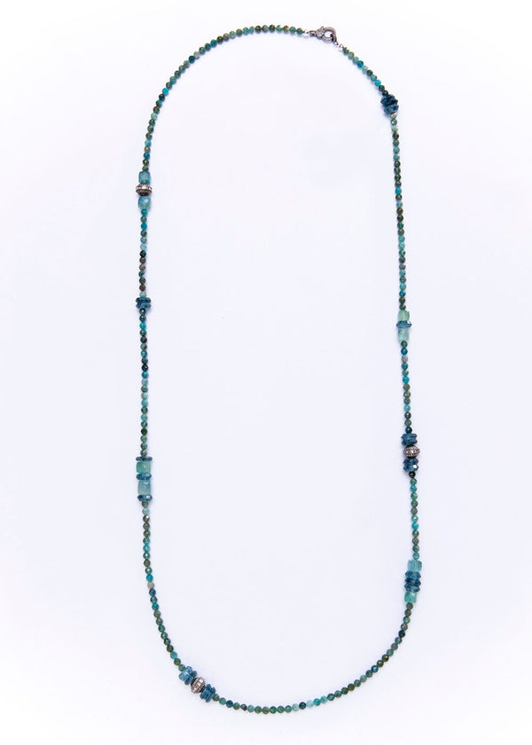 Blue London Topaz, Apetite, Aqua Marine W/ Diamond Wheels Necklace 9270-Necklaces-Gretchen Ventura