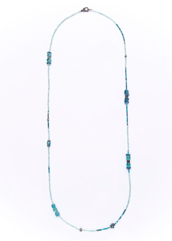 Blue London Topaz, Apetite, Single Cut Baguette Diamond Necklace 9271-Necklaces-Gretchen Ventura