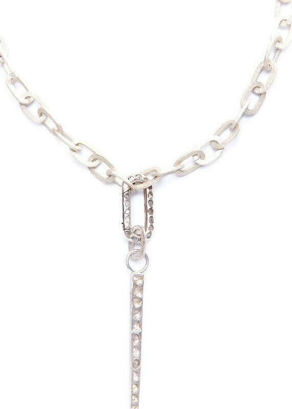Acid wash Sterling Hammered Link Chain w/ Conflict Free Diamond Slice Silver Spear Pendant #9272-Necklaces-Gretchen Ventura