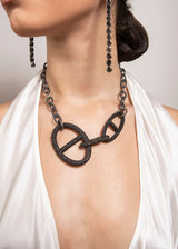 Blackened Hand Hammered Sterling Chain & Diamond Clasps w/ Rockstar Collection #9284-Necklaces-Gretchen Ventura