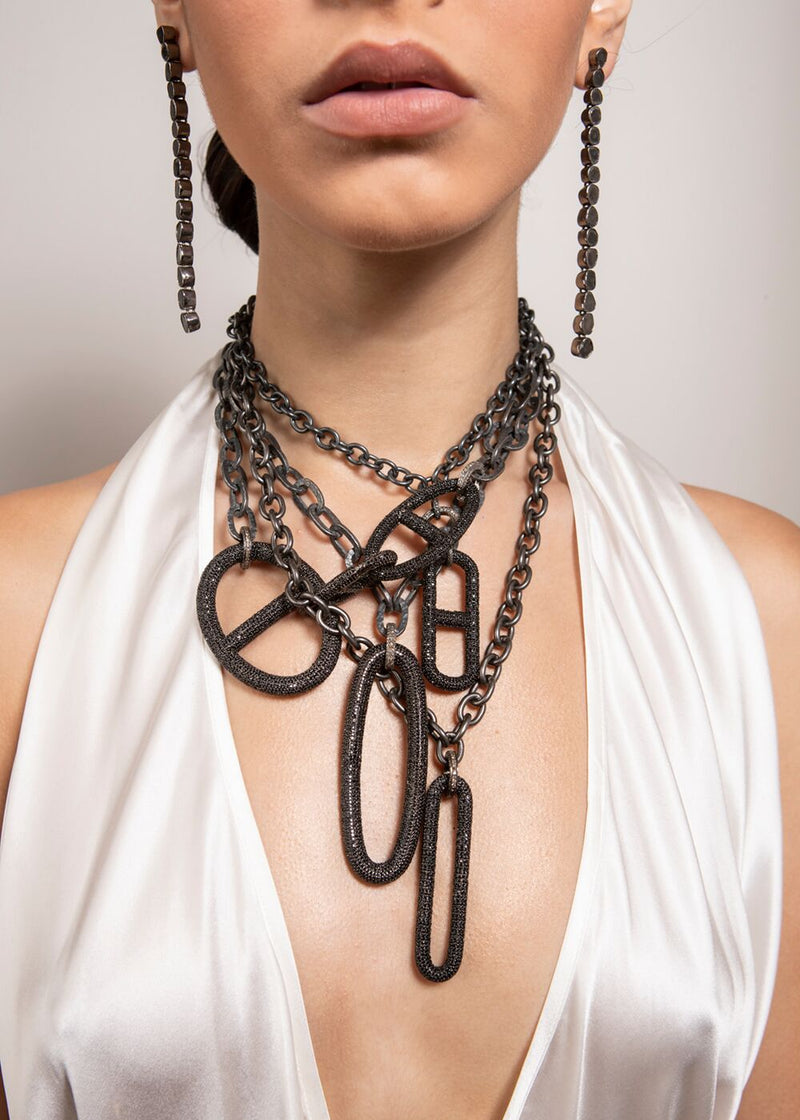 Blackened Hand Hammered Sterling Chain & Diamond Clasps w/ Rockstar Collection 2 #9285-Necklaces-Gretchen Ventura