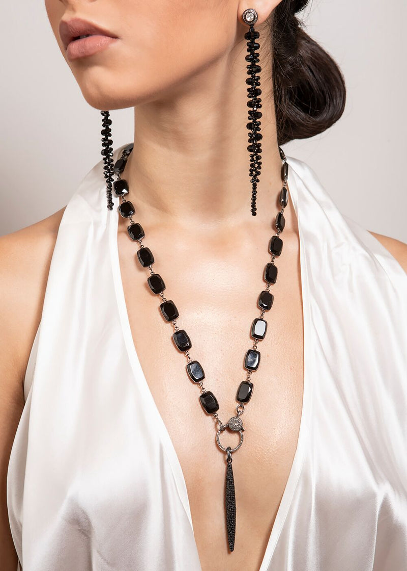 Emerald cut Onyx in Sterling & Diamond Lobster Claw Clasp w/ Rockstar Collection 9289-Necklaces-Gretchen Ventura