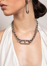 "Vintage Sterling Chain & Diamond Clasps w/ Rockstar Collection 14 (19"")-Necklace-Gretchen Ventura"