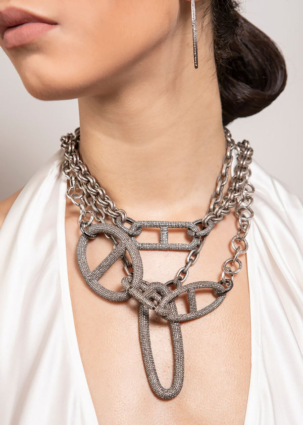 Hand Hammered Sterling Chain Choker & Diamond Clasps w/ Rockstar Collection #9294-Necklaces-Gretchen Ventura