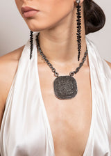 Rhodium Plated Sterling Chain w/ Diamond Rings & Clasp & Rockstar Black Spinel Plate# 9298-Necklaces-Gretchen Ventura