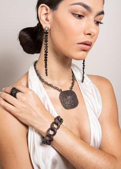 Rhodium Plated Sterling Chain w/ Diamond Rings & Clasp & Rockstar Black Spinel Plate 9298-Necklaces-Gretchen Ventura