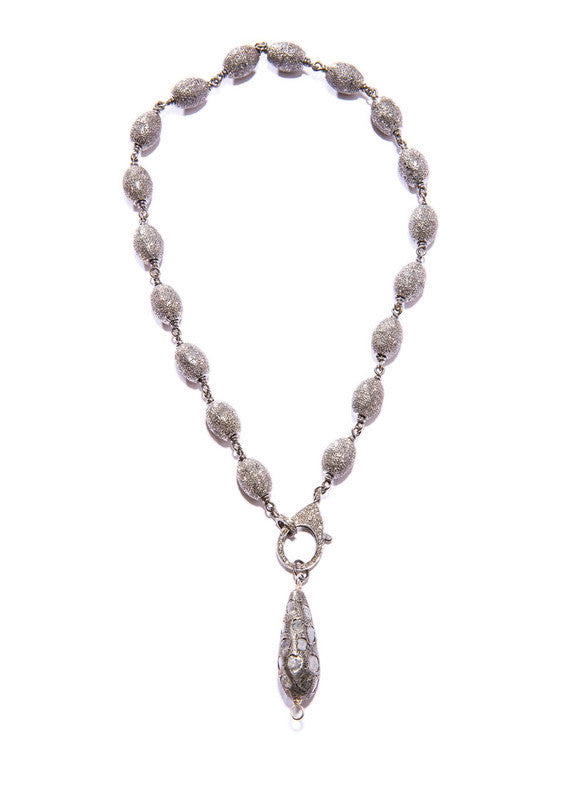 Hand Formed Sterling & Raw Diamond Drop w/ Oxidized Diamond Cut Rosary Chain #9318-Necklaces-Gretchen Ventura