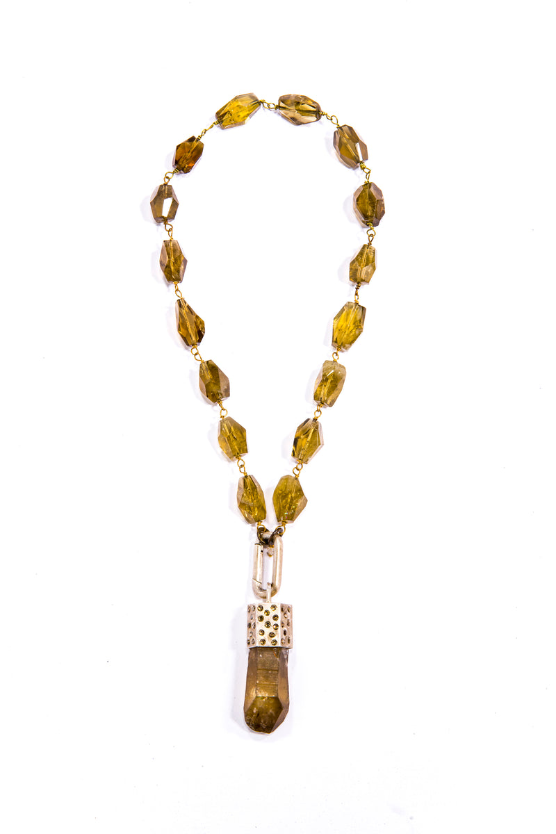 Oxidized Woven Sterling Silver Chain W/ Conflict Free Diamond Slice Capped Smoky Quartz #9341-Necklaces-Gretchen Ventura