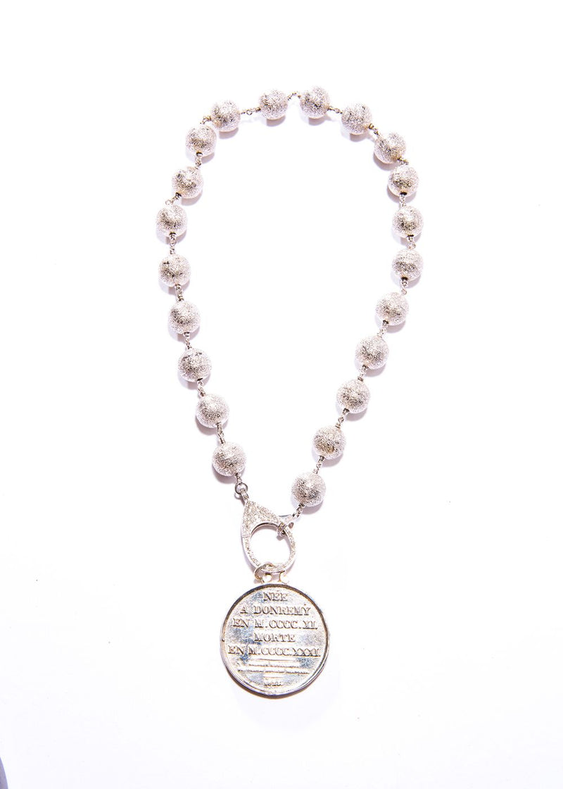 Sterling silver Joan of ARC, Sapphires diamond Cut rosary bead chain w/ Clasp #9412-Necklaces-Gretchen Ventura