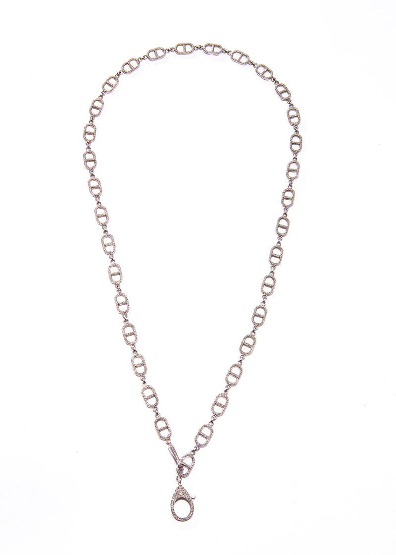 "Diamond Pave Sterling single ""H"" Link Chain w/ Double Diamond Clasp #9424-Necklaces-Gretchen Ventura"
