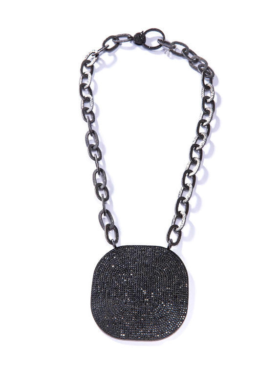 GV Blackened Sterling Chain with Black spinel Plate & Black Spinel Clasp #9436-Necklaces-Gretchen Ventura