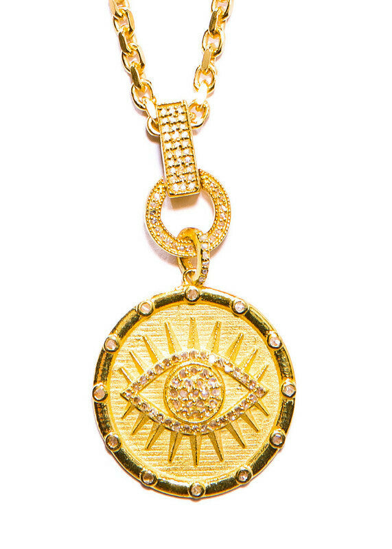 Gold Vermeil Over Sterling & Diamond Evil Eye Pendant w/Chain, Diamond Clasp & Bale #9445-Necklaces-Gretchen Ventura