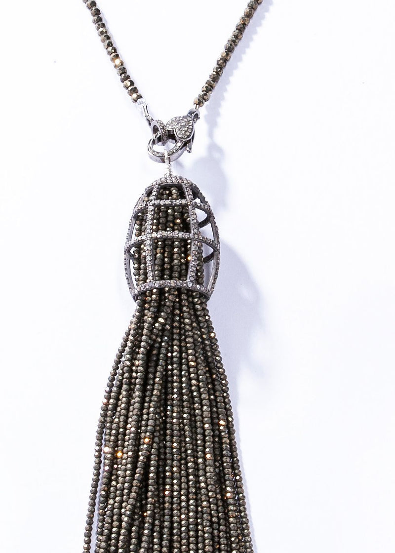 Faceted Pyrite, Diamond & Sterling Cage Tassel w/ Faceted Pyrite Necklace #9452-Necklaces-Gretchen Ventura