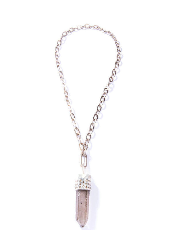 Raw Crystal Capped in Sterling & Conflict Free Raw Diamond, GV Sterling Chain &l Clasp #9453-Necklaces-Gretchen Ventura