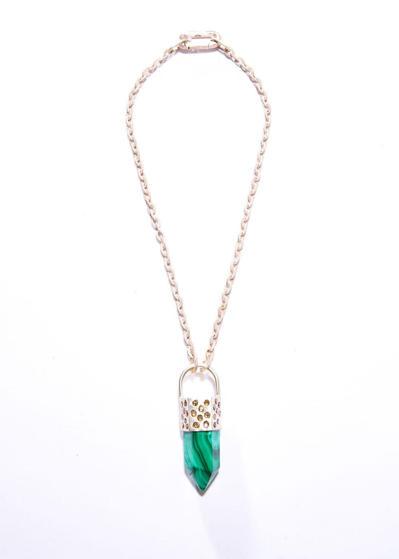 Malachite Point Capped in Sterling & Conflict Free Raw Diamond on Small GV Sterling Chain #9455-Necklaces-Gretchen Ventura