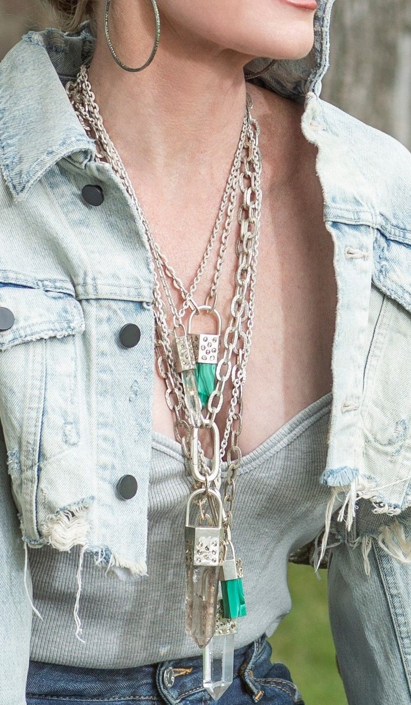 Malachite Pendant Capped in Sterling & Conflict Free Raw Diamond on GV Sterling Chain #9456-Necklaces-Gretchen Ventura