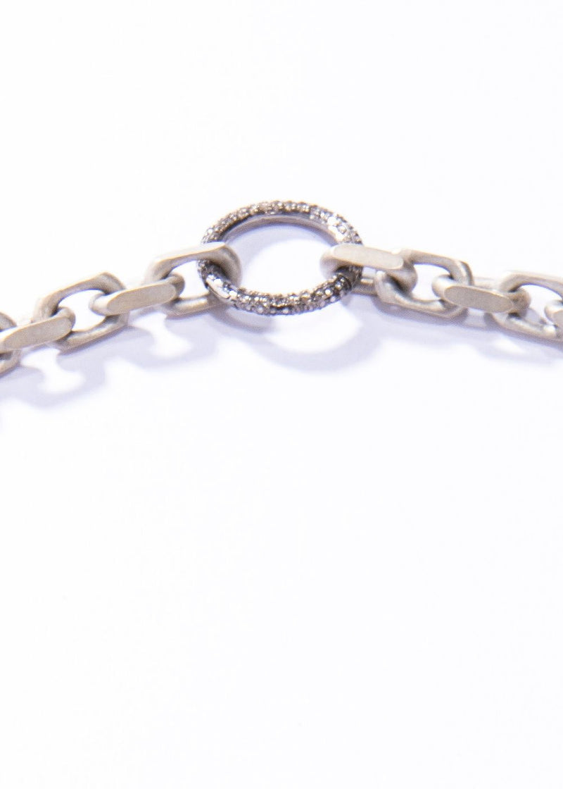 Matte Sterling Silver Link Chain w/ Pave Diamond Clasp #9462-Necklaces-Gretchen Ventura