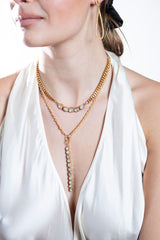 Gold Plate over Sterling Silver GV Chain Small w/ Rose Cut Diamond Drop #9463-Necklaces-Gretchen Ventura