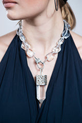 Raw Crystal Capped in Sterling & Raw Diamond w/ Rock Quartz Crystals #9468-Necklaces-Gretchen Ventura