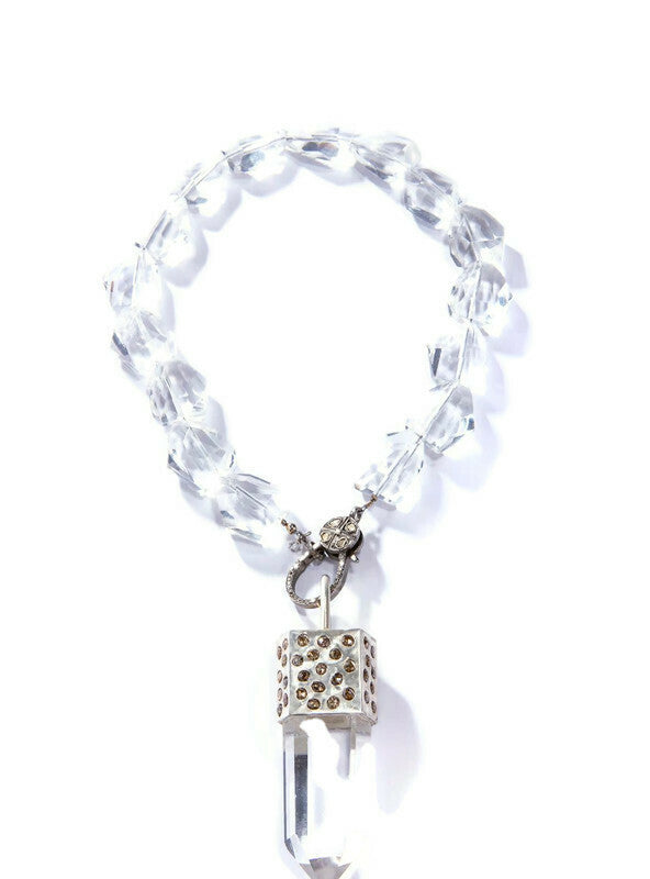 "Raw Crystal Capped in Sterling & Raw Diamond w/ Rock Quartz Crystals & Diamond Clasp (17""+ 3.75"")-Necklace-Gretchen Ventura"