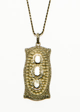 Rose Cut & Pave' Diamond Pendant on Woven Matte Sterling Silver Chain #9371-Necklaces-Gretchen Ventura