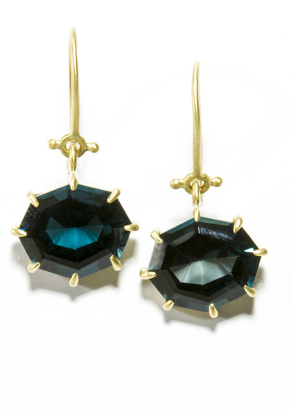 Blue London Topaz Hinge Earrings in 14K Gold #3476-Earrings-Gretchen Ventura