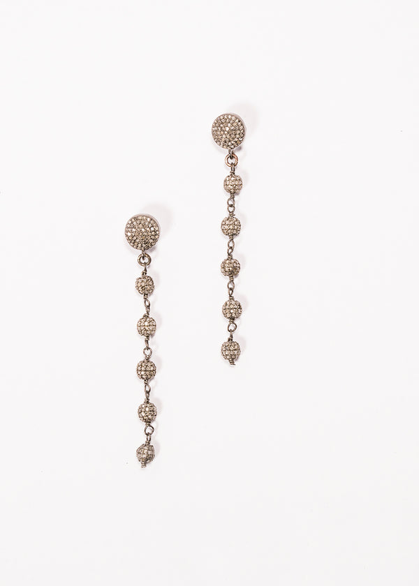 Diamond Pave Rosary Chain Earrings on Diamond Posts 3439-Earrings-Gretchen Ventura