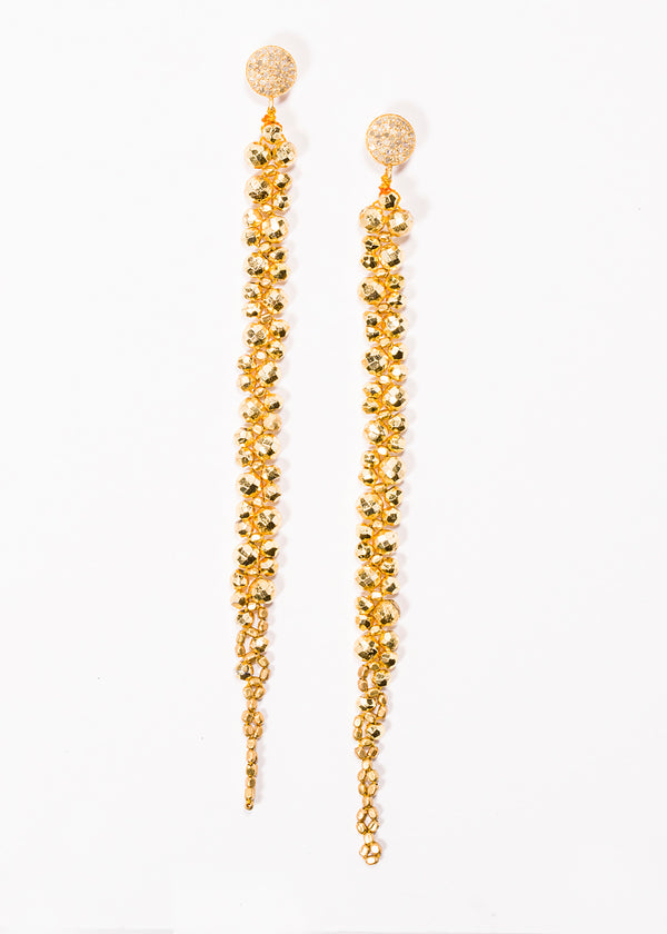 Gold Plated Pyrite Drop earrings on Gold Plate Pave Diamond Post 3405-Earrings-Gretchen Ventura