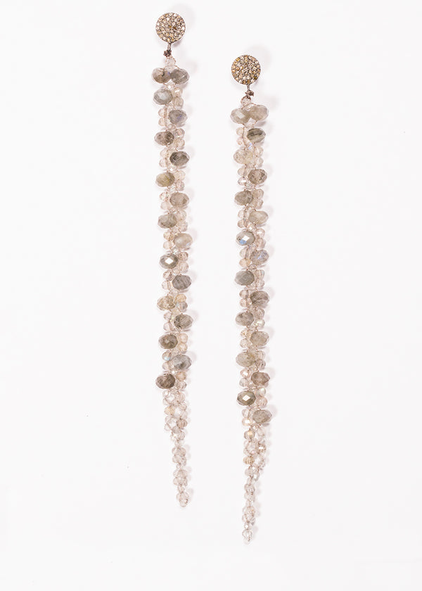Faceted Labradorite Drop Earrings on Pave Diamond Post 3419-Earrings-Gretchen Ventura