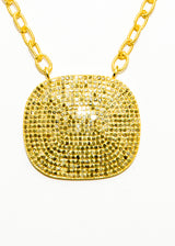 Medium Pave Diamond Plate in Gold Plate over Sterling Chain #9399-Necklaces-Gretchen Ventura