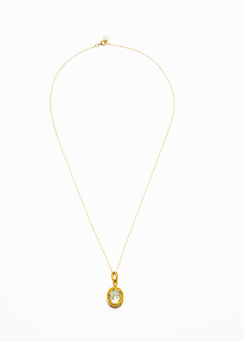 Oval Polki Diamond w/ Handpainted Enamel on Back. 24K Gold Front, 18K Back on 18K Gold Chain #9357-Necklaces-Gretchen Ventura