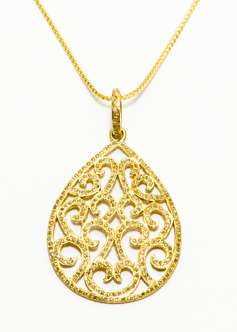 Pave' Diamond Tear Drop on Gold Plate over Sterling Silver w/ Curb Chain #9375-Necklaces-Gretchen Ventura