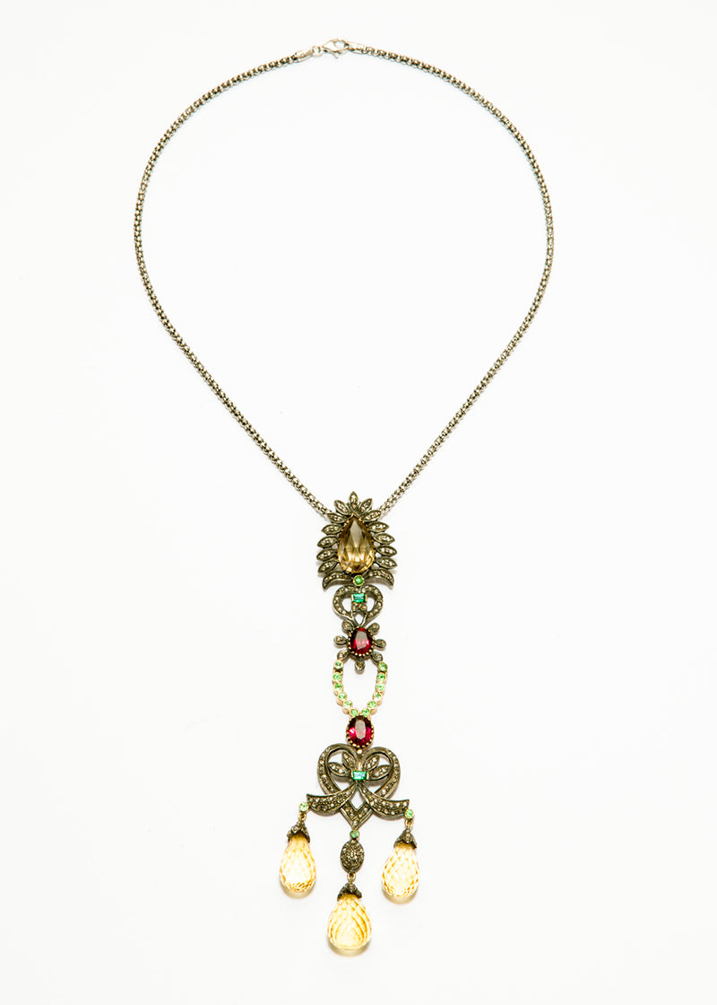Diamond, Yellow Topaz, Tsavorite, Emerald on Oxidized Sterling Chain w/ Diamond Clasp #9360-Necklaces-Gretchen Ventura