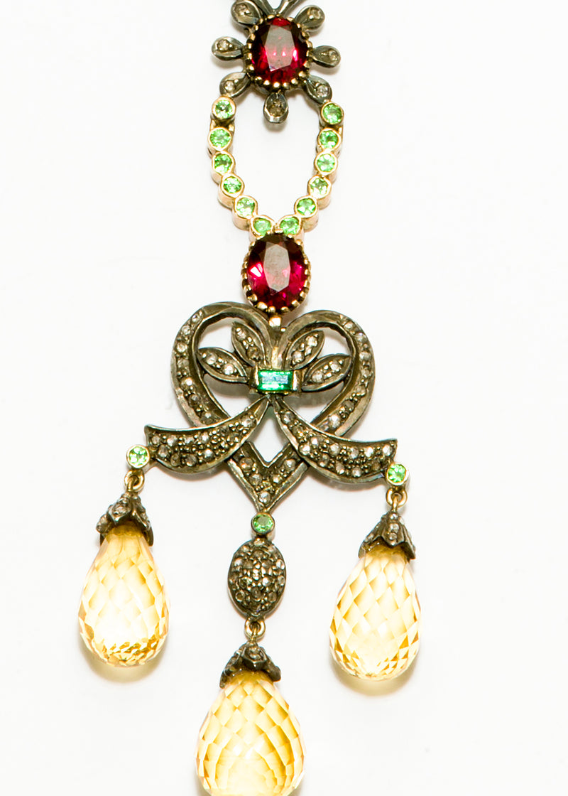 Diamond, Yellow Topaz, Tsavorite, Emerald (2 C Diamond) On Oxidized Sterling Chain #9360-Necklaces-Gretchen Ventura
