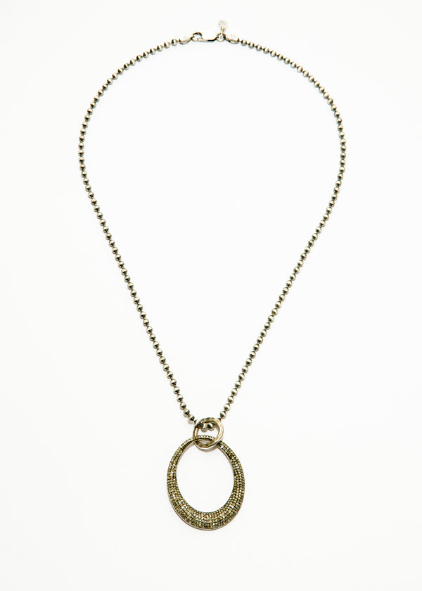 Pave Diamond Oval Pendant on Sterling Ball Chain 6080-Necklaces-Gretchen Ventura